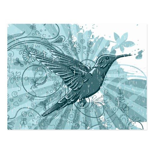 Grunge Hummingbird Postcard Post Cards