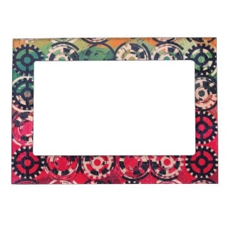 Grunge industrial pattern magnetic picture frame
