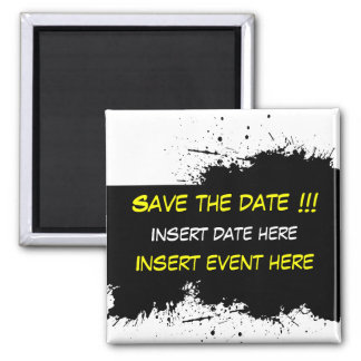Grunge Ink Stain - Save the date Magnet Template 2 Inch Square Magnet