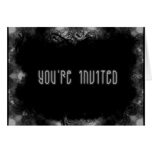 Grunge Invite 1 You're Invited - B&W Card