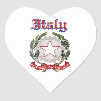 Grunge Italy coat of arms designs Heart Stickers