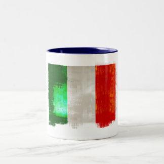 Grunge Italy flag for Italians of Italia - forza Two-Tone Coffee Mug