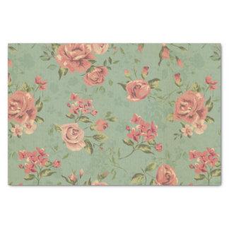Grunge, jade, coral, floral, vintage, moda papel de seda pequeño