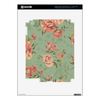 Grunge,jade,coral,floral,vintage,shabby chic,roses iPad 3 decal