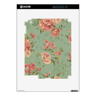 Grunge,jade,coral,floral,vintage,shabby chic,roses iPad 2 decal