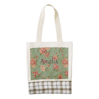 Grunge,jade,coral,floral,vintage,shabby chic,roses zazzle HEART tote bag