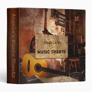 Grunge Jazz Music Sheets Binder