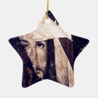 Grunge Jesus  graffiti image Double-Sided Star Ceramic Christmas Ornament