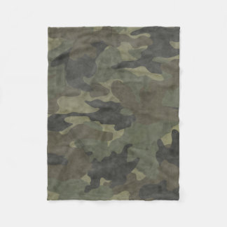 Grunge Khaki Green Camo Custom Fleece Blankets