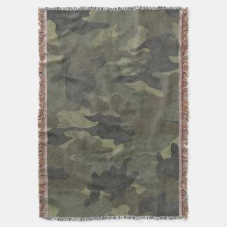 Grunge Khaki Green Camo Woven Throw Blankets