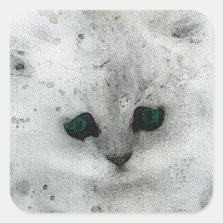 Grunge Kitten Square Sticker
