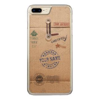 Grunge Kraft Envelope Stamps Pattern Monogram Carved iPhone 7 Plus Case