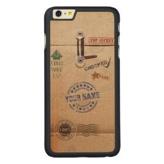 Grunge Kraft Envelope Stamps Pattern Monogram Carved Maple iPhone 6 Plus Slim Case