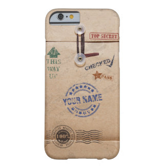 Grunge Kraft Envelope Stamps Pattern Monogram Barely There iPhone 6 Case