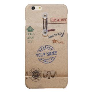 Grunge Kraft Envelope Stamps Pattern Monogram Glossy iPhone 6 Plus Case
