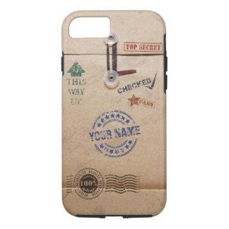 Grunge Kraft Envelope Stamps Pattern Monogram iPhone 8/7 Case