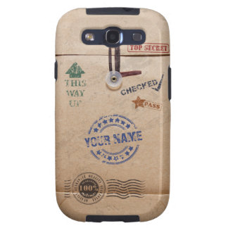 Grunge Kraft Envelope with Stamps and Custom Name Samsung Galaxy SIII Cases
