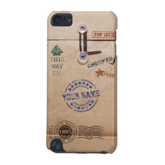 Grunge Kraft Envelope with Stamps and Custom Name iPod Touch 5G Cases