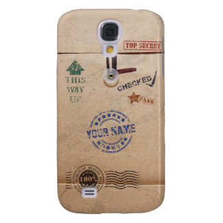 Grunge Kraft Envelope with Stamps and Custom Name Galaxy S4 Cases