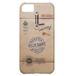 Grunge Kraft Envelope with Stamps and Custom Name Case For iPhone 5C