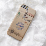 Grunge Kraft Envelope with Stamps and Custom Name Barely There iPhone 6 Case