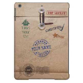 Grunge Kraft Envelope with Stamps and Custom Name Case For iPad Air