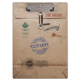 Grunge Kraft Envelope with Stamps and Custom Name Clipboard