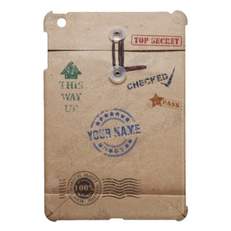 Grunge Kraft Envelope with Stamps and Custom Name iPad Mini Covers