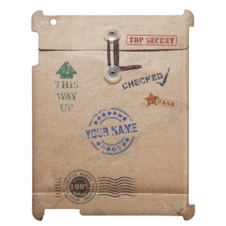 Grunge Kraft Envelope with Stamps and Custom Name iPad Case