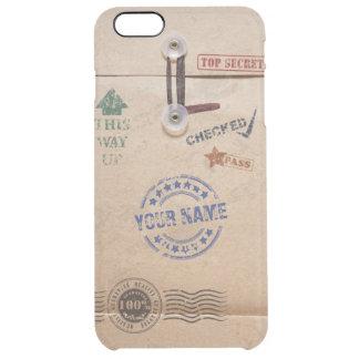 Grunge Kraft Envelope with Stamps Custom Monogram Clear iPhone 6 Plus Case