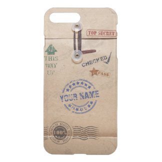 Grunge Kraft Envelope with Stamps Custom Monogram iPhone 7 Plus Case