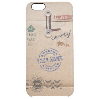 Grunge Kraft Envelope with Stamps Custom Monogram Uncommon Clearly™ Deflector iPhone 6 Plus Case