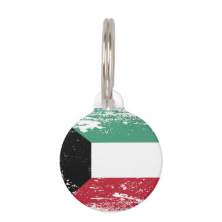 Grunge Kuwait Flag Pet ID Tag