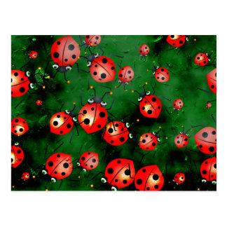 Grunge Ladybugs Post Card