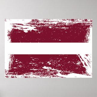 Grunge Latvia Flag Poster