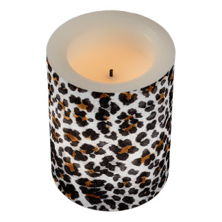 Grunge Leopard Print Pattern Flameless Candle