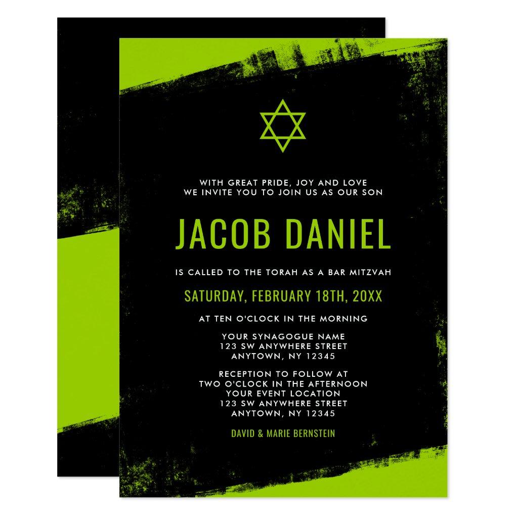 Grunge Lime Green Black Bar Mitzvah Invitations