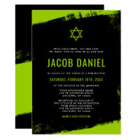 Grunge Lime Green Black Bar Mitzvah Invitations