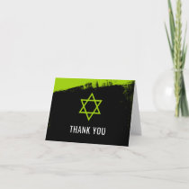 Grunge Lime Green Black Bar Mitzvah Thank You