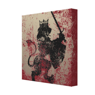 Grunge Lion King Wrapped Canvas Print