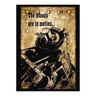 Grunge locomotive party invitation