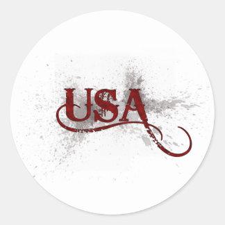 Grunge los E.E.U.U. de la sangría Pegatina Redonda