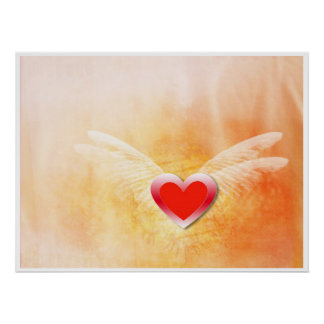 Grunge love heart poster