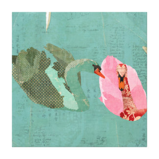 Grunge Love Swans Canvas Print