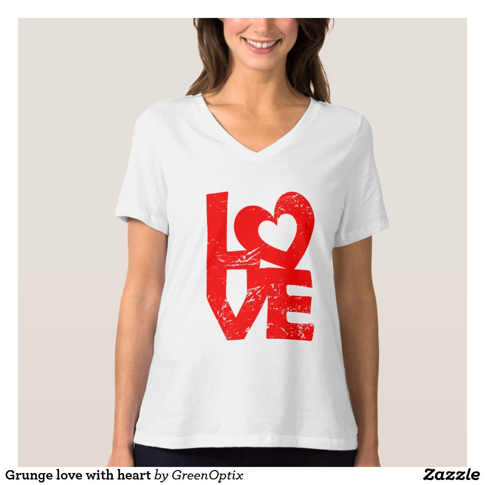 Grunge love with heart T-Shirt - Best Selling Long-Sleeve Street Fashion Shirt Designs