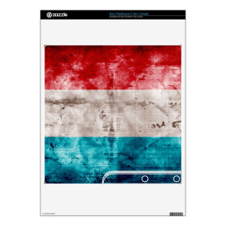 Grunge Luxembourg Flag Decals For The PS3 Slim
