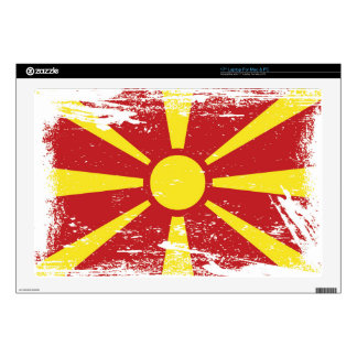 "Grunge Macedonia Flag Decal For 17"" Laptop"