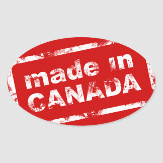 Grunge Made In Canada - Red Oval Sticker
