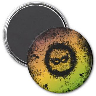 Grunge Mardi Gras 3 Inch Round Magnet