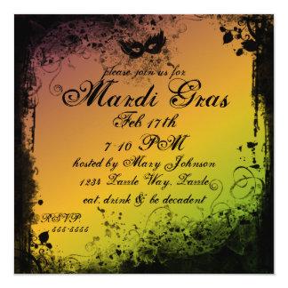 Grunge Mardi Gras 5.25x5.25 Square Paper Invitation Card